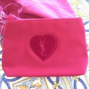YSL pink heart velvet bag cosmetic pouch